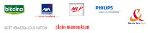 Philips ,Blédina,Axa,MLP,Alain Manoukian,France telecom,Moët Hennessy